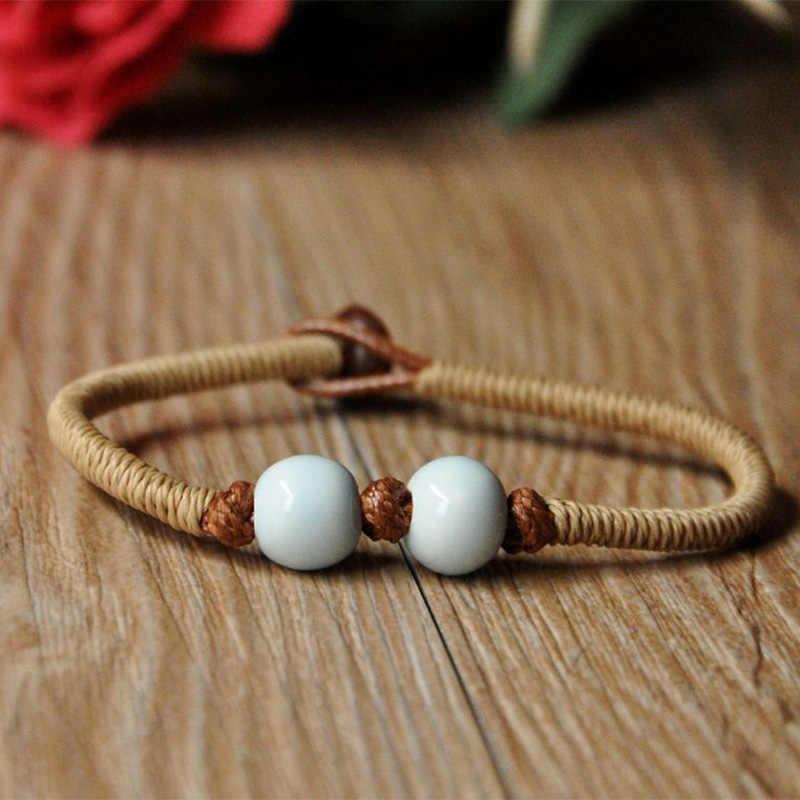Модные браслеты с подвесками Керамика Бусины манжета для женщин мужчин ряд переплетенных веревок напульсники Регулируемый этнические ювелирны