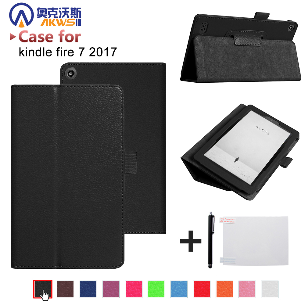 Best buy ) }}Folio stand cover case for 2017 Amazon All New Fire 7 Tablet with Alexa