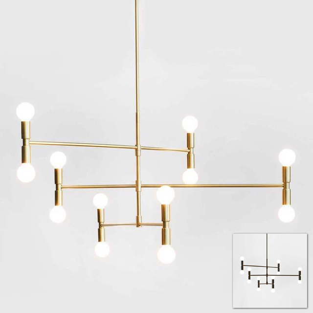 Modern Linear Line Ceiling Chandelier Light Rotatable Adjule Bronze Gold Hanging Lamp For Dinning Living