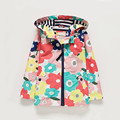 Jackets for girls Spring Autumn Bright Flower Print Hooded Windbreaker Coat Long Sleeve Children Clothing 3-10 Yrs
