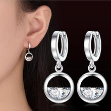 Everoyal Fashion Zircon Round Drop Earrings Silver Accessories For Girls Vintage 925 Sterling Women Jewelry