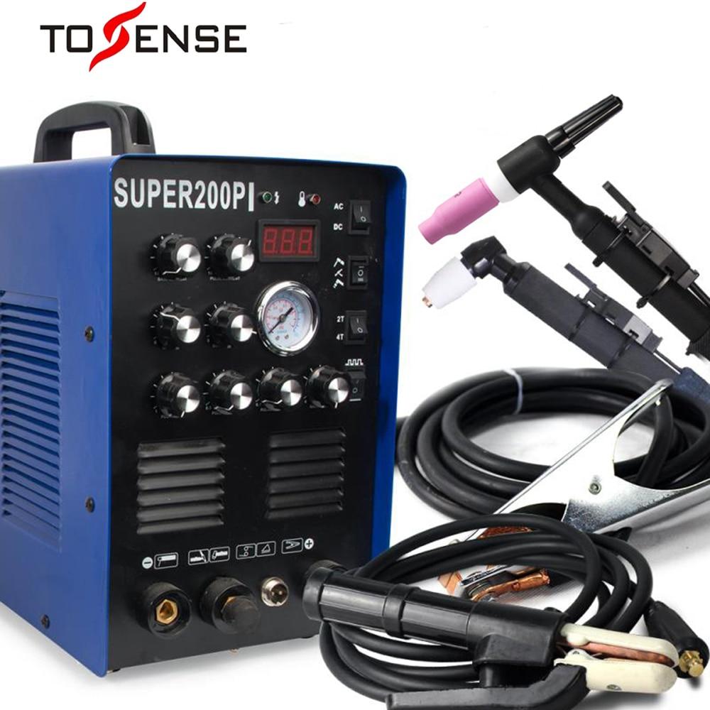 TOSENSE IGBT Pulse TIG/MMA Aluminium Schweißer 200A AC/DC 7 in 1 Milti-funktion Schweißen Ausrüstung 50A Plasma Cutter Schweiß Maschine