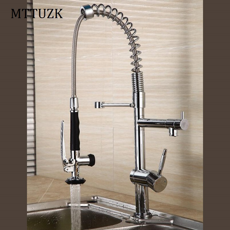 MTTUZK Spring Style Kitchen Pull Out Faucet Mixer Dual Sprayer Swivel Spout Rotatable Hot Cold Faucet Sink Mixer Taps