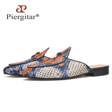 Men's Slippers Mules Calfskin Tassel-Designs Plus-Size Piergitar Insole Handcrafted Snake-Pattern