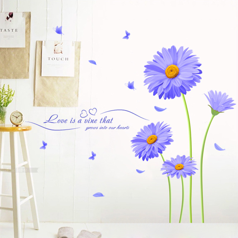 Aster Novi belgii Purple Chrysanthemum DIY Wall Stickers Living Room TV Sofa Backdrop Decor Mural Decal Wallpaper XL8088 in Wall Stickers from Home Garden