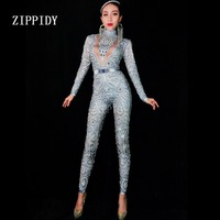 Fashion Gray Silver Rhinestones Jumpsuit long Sleeves Stretch Sexy Bodysuit Stage Performance Party Celebrate Nightlcub outfit