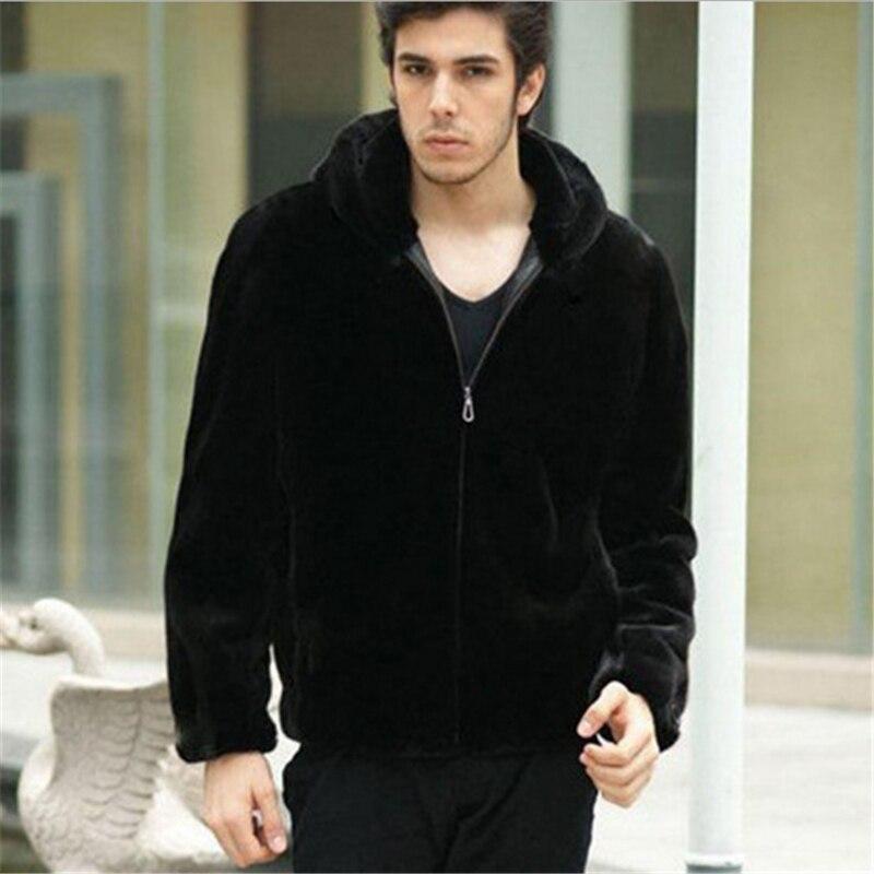 Homens casaco de Luxo Moda charme Homens Mink Falso Casaco De Pele de inverno 2017 quentes proofwind preto jaqueta casaco plus size S-3XL