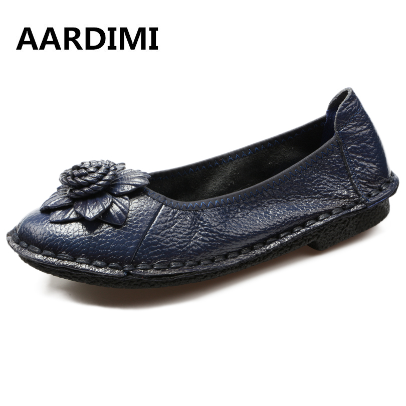 New Arrival Solid Flowers Handmade Women Shoes Genuine Leather Spring Women Flats Shoes Casual Loafers Ballet Flats Shoes Woman 2pcs battery charger np fh50 rechargeable camera battery bateria sony np fh50 dcr dvd dcr hc fh30 fh40 tg3 tg5 tg7 dsc hx1