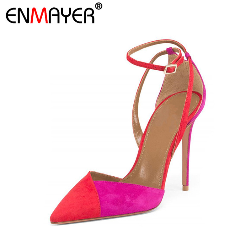 ENMAYER Extreme High Heels Flock Pointed Toe Sexy Red Shoes Women Genuine Leather Hot Party Shoes Fashion Summer Women Pumps enmayer extreme high heels flock round toe buckle platform black shoes sandals hot fashion summer women pumps for party wedding