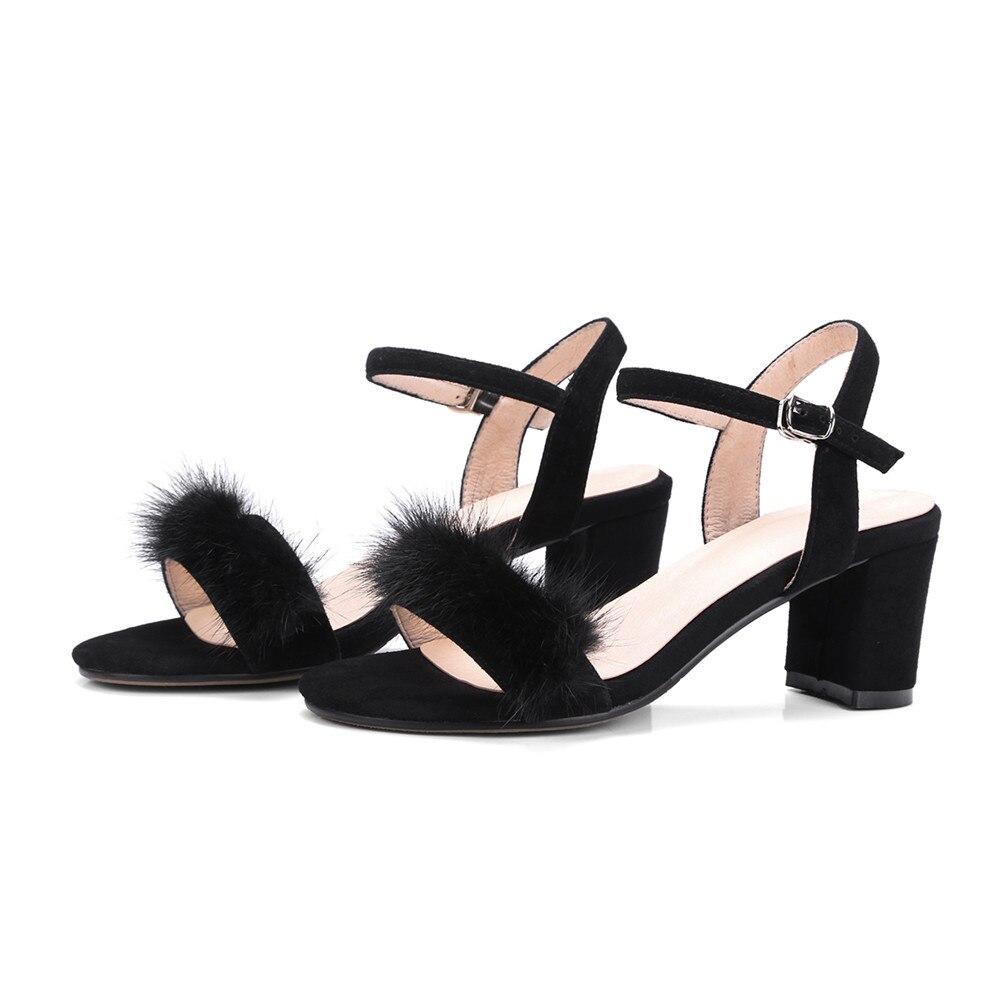 Memunia Restauration En Bout D'été Chaussures Cuir Confortable Sandales Simple Daim Femmes Doux Noir apricot Loisirs Carré Femme rw407xwT