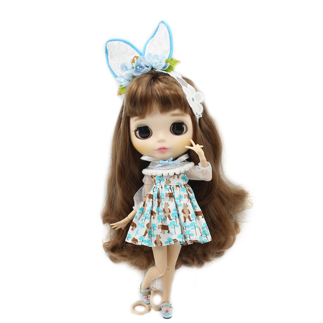 Neo Blythe Doll Bear Dress Flower Hairband