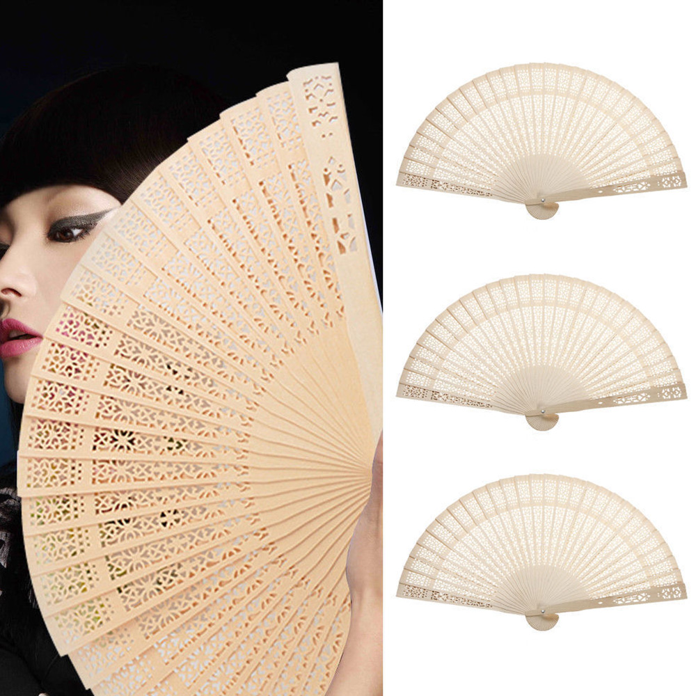 1PC Vintage Hollow Carved Wedding Hand Fragrant Party Carved Bamboo Folding Fan Chinese Style Wooden For Garden Parties