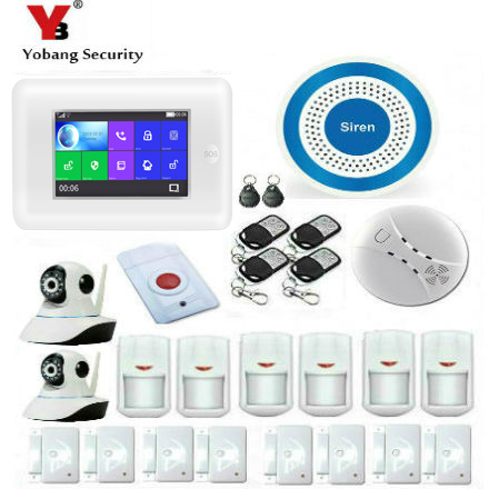 Yobang Security 433MHz Alexa Version Touch Screen Wireless GSM WIFI DIY Smart Home Security Alarm Systems Kit Video IP Camera