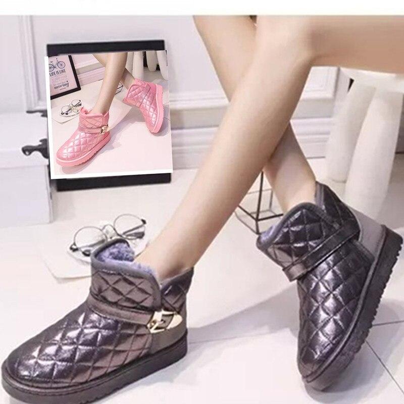 Mujeres Botines Botas Hebilla gris Negro Zapatos De Tobillo Invierno Mujer  Señoras Metal Nieve Plaid Las Cuero ... e1639d2793c6