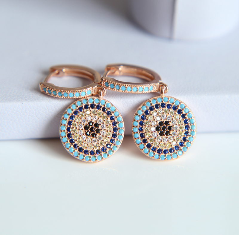 63d52a827ae80 US $15.29 10% OFF|2019 NEW 925 Authentic Sterling Silver Turkish Evil Eye  Earrings With Cubic Zirconia Good Luck Popular Women Jewelry -in Stud ...