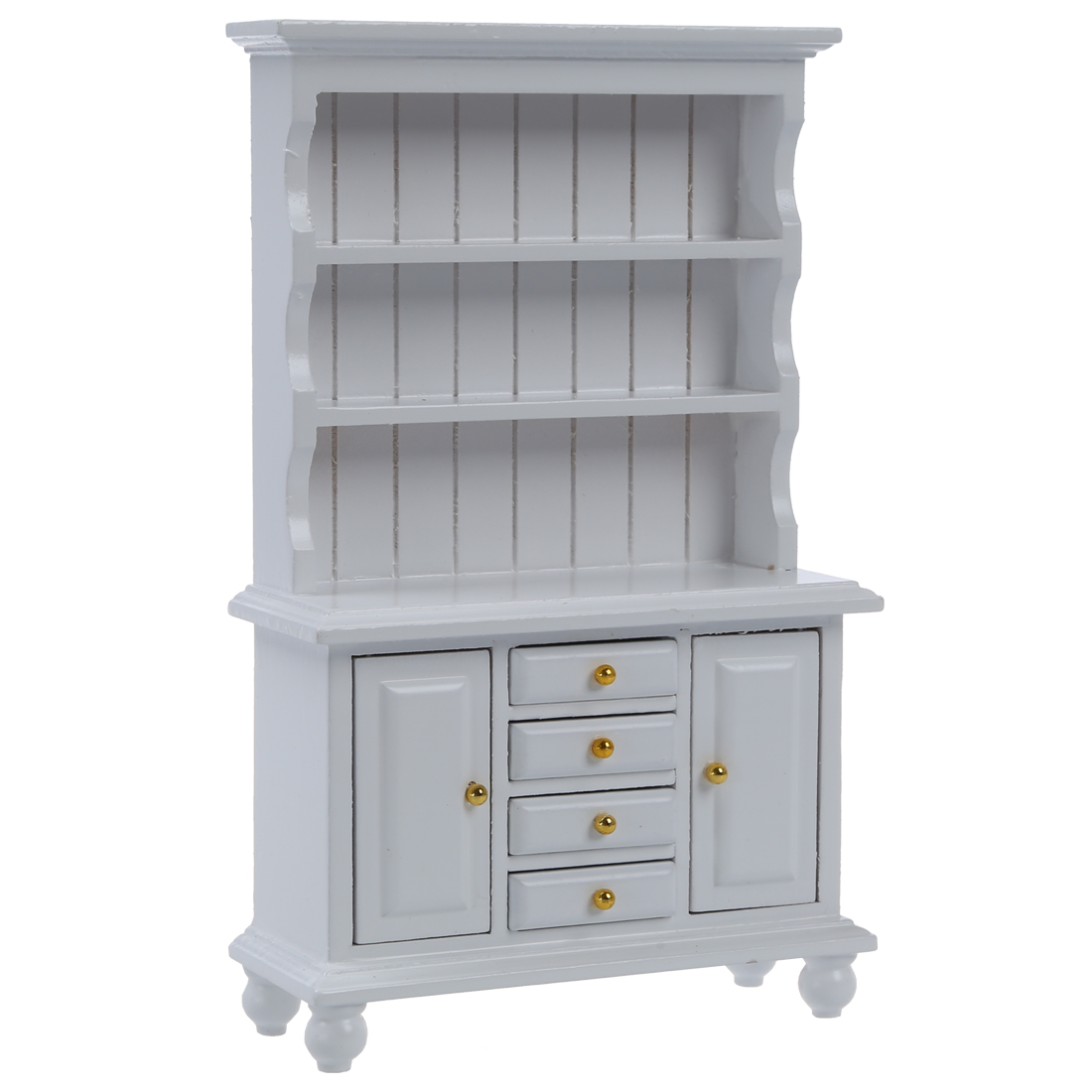 1//12 White Wooden Bookcase Cabinet Shelf for Dollhouse Miniature Furniture