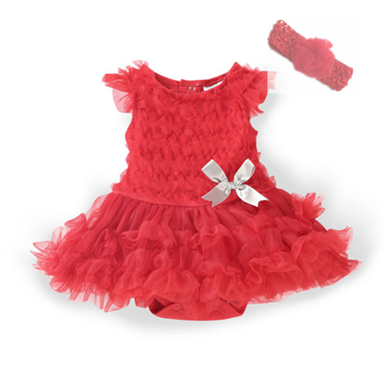 Summer Baby Girl Dress Cotton Ruffle Sleeveless Birthday Party Dresses for Girl Clothing Set Lace Infant Dress & Headband