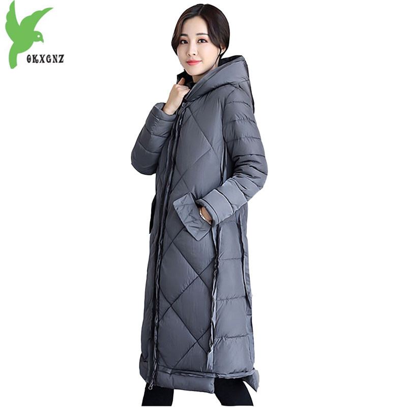 2017 Women Winter Cotton Jacket Coat Thick Warm Parkas Plus size Medium length Outerwear Female Hooded Cotton Jackets OKXGNZ1156 цены онлайн