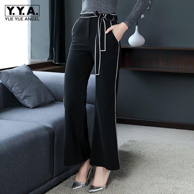 Femmes Maigre Ceinture Femme À Casual Pantalon Black Mode Mesdames Taille  Travail Haute D affaires Bureau ... a770ce47a7f
