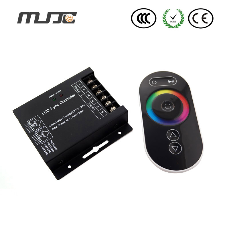 MJJC 1PCS New Touch RGB LED Controller 12V 24V 24A with RJ45 Synchronized Interface Long Life-span