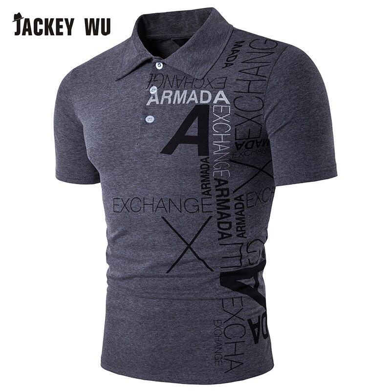 JACKEYWU   Polo   Shirt Men 2019 Summer Fashion Letter Printed Half Sleeve Tees Cotton Breathable Camisa   Polo   Elastic Casual   Polos
