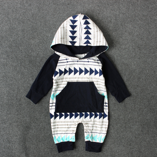 Fashion Baby Boys Clothes Autumn Newborn Toddler Hoodies Sweatshirts Geometric Shape Triangle Striped Clothing For Boy Set