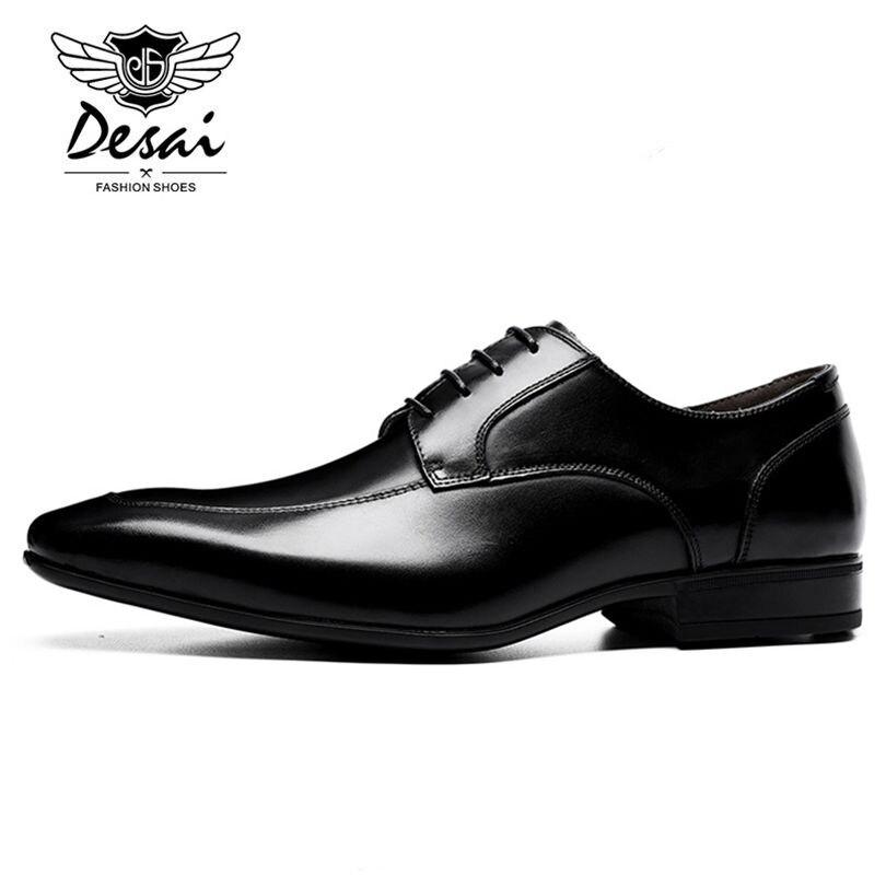 DESAI marka skórzane buty męskie Pointed Toe czarne buty Oxford dla mężczyzn biznes sznurowane buty sukienka z prawdziwej skóry obuwie w Męskie nieformalne buty od Buty na  Grupa 3