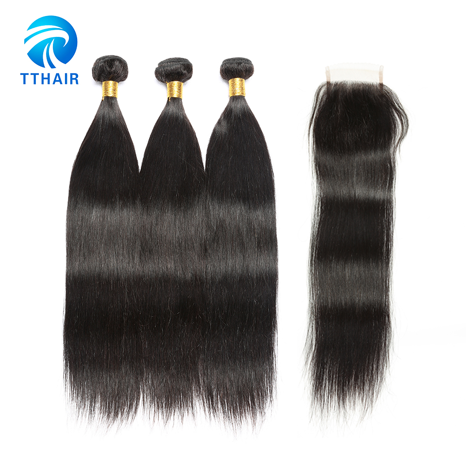 Unprocessed Peruvian Virgin Hair Weave 3 Bundles With Closure With Color 1B Straight Human Hair Extensions