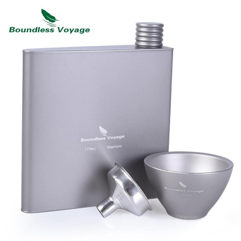 Boundless Voyage Venkovní Titanium Hip Flask Sake Cup Set Camping - Sportovní oblečení a doplňky