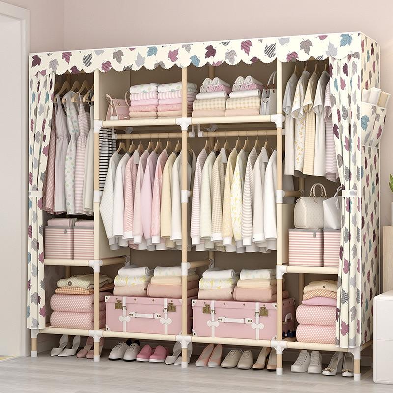 Modern Wooden Wardrobe chambre a coucher Storage Cabinet Home Bedroom Furniture armario de tela plegable Wardrobe Cabinet
