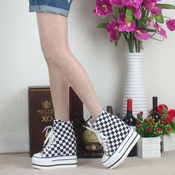 2017 high top canvas casual shoes Hidden Wedges ultra high platform elevator Plaid shoe leisure Comfortable lace up female boots