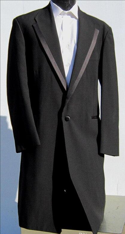 mens black renta gangster tuxedo long frock coat custom made