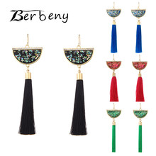 Handmade Sector Tassel Earrings 2019 Trendy Black Red Yellow Green Long Dangles Ear Brincos Silk Fringed Jewellery For Women(China)