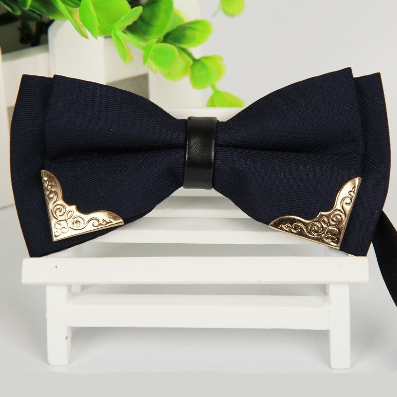 SHENNAIWEI 12cm*6cm Men Navy Blue Bow Ties High Grade Metal Design Boutique  2016 Bowknot
