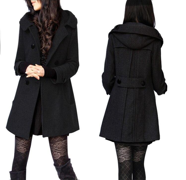 Casual Noir Nouveau Mode Femmes Casaco Extérieur ardoisé Manteau Capuche Breasted Slim Veste Double Hiver Feminino 77UgOwq