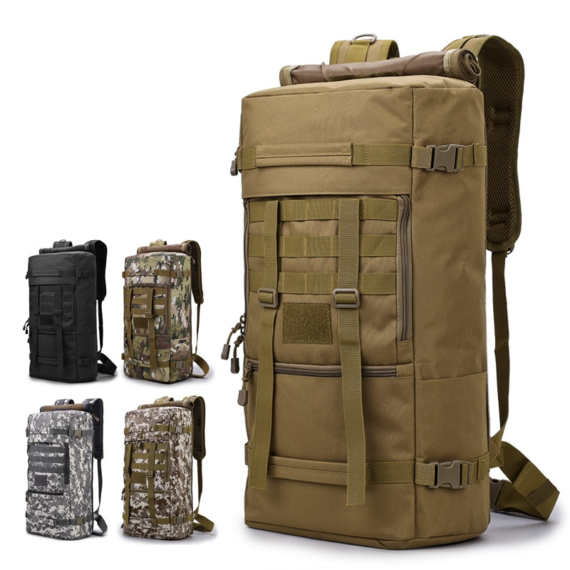 50L Outdoor Military Tactical Backpack Rucksack Camouflage Hiking Camping Hunting Water Resistant Bags 600D Travel Backpacks 70l internal metal frame molle backpack rucksack water resistant bags 600d camouflage men long distance travel backpack t0071