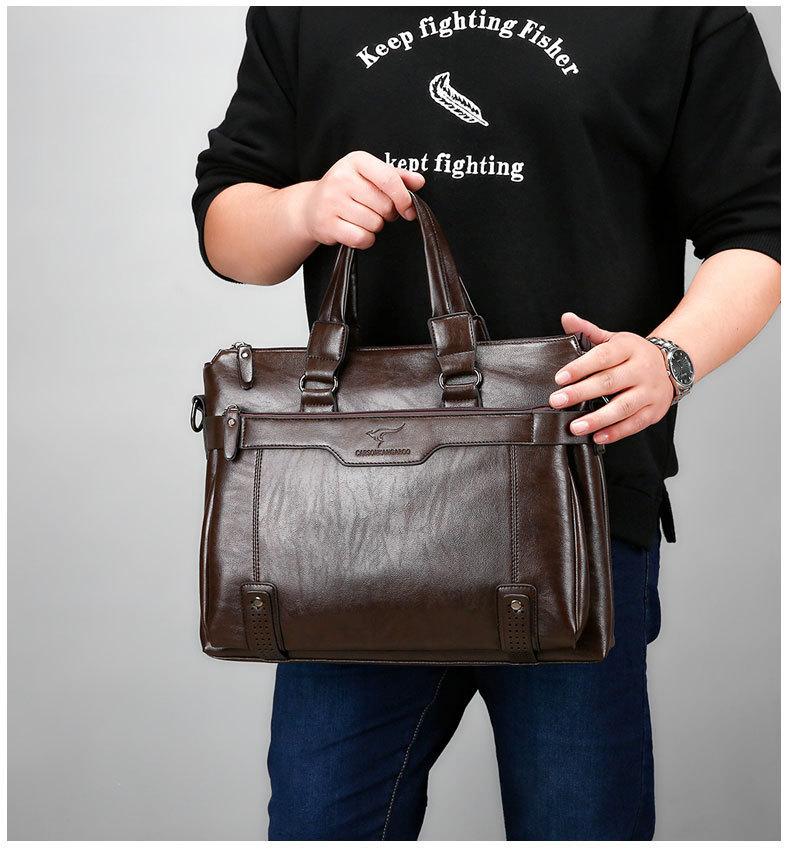 US $34.99 49% OFF Nowa torebka do pracy w biurze pakiet pojedyncze ramię torba mężczyźni skórzane odzież skórzana teczki projektant luksusowe torebki