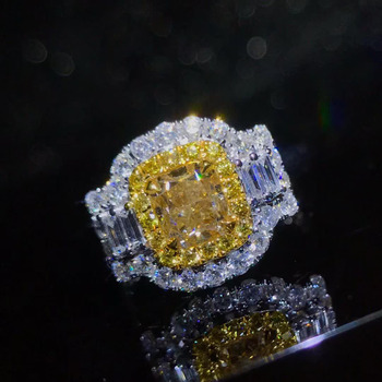 wedding engagement ring classic luxury square 18k gold diamond jewelry certificated natural Yellow diamond ring women 2
