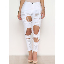 Летние белые рваные джинсы женские крутые джинсы с высокой талией осенние женские брюки-Капри обтягивающие черные повседневные джинсы z30