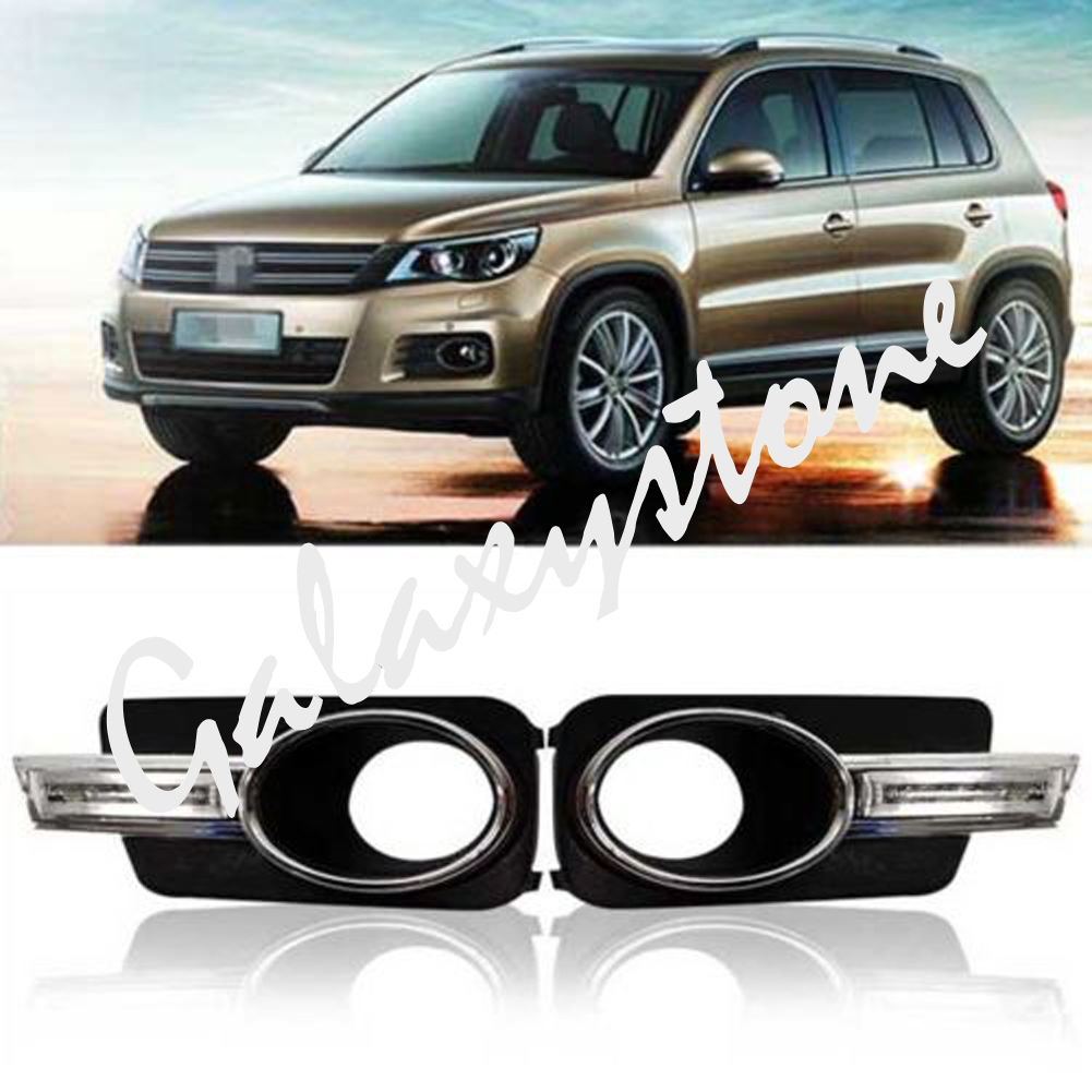 For VW Tiguan 2009 2010 2011 2012 2013 DRL Car LED Daytime Running Light Foglight Modified led car light for hyundai ix35 ix 35 2010 2011 2012 2013 car styling led drl daytime running light waterproof wire of harness