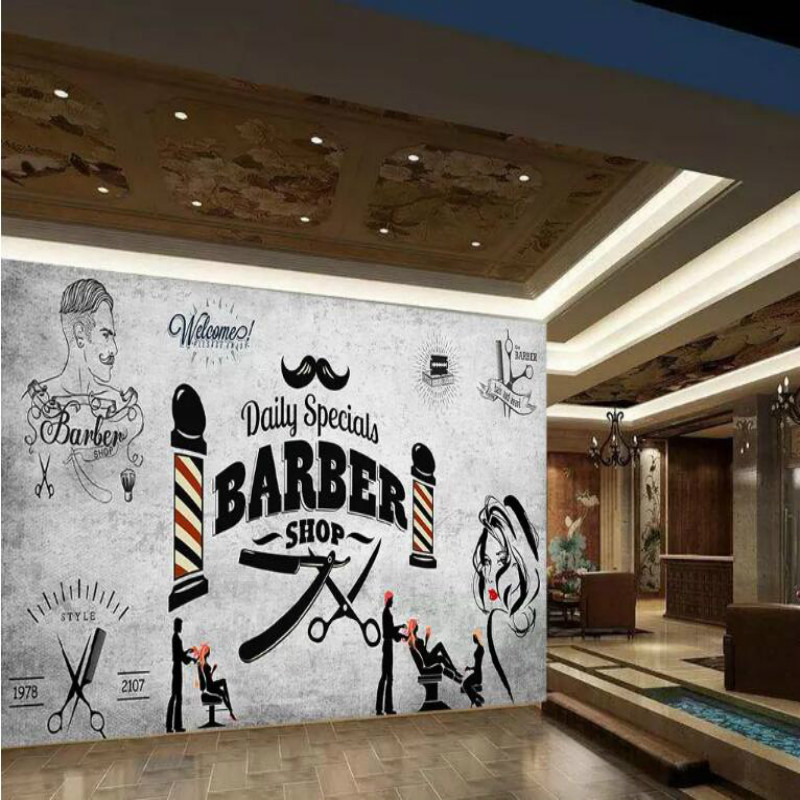 Retro hair salon Background Wallpaper Mural for Hairdressing barber shop background wall decor modern wallpapers 3D custom retro wallpaper personality background painting used in hotel restaurant coffee shop background wall vinyl wallpaper