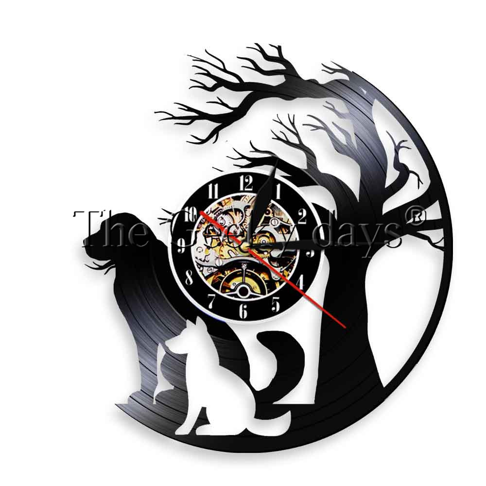 1Piece Doggy Vinyl Wall Clock Dogs Under The Tree Silhouette Led Wall Lights Puppy Landscape Contemporary Wall Lamp For Kid Gift
