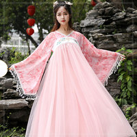 Modern Woman Hanbok High Waist dress Asian Clothes embroidered pink gown Ancient style Dance Performance Costume