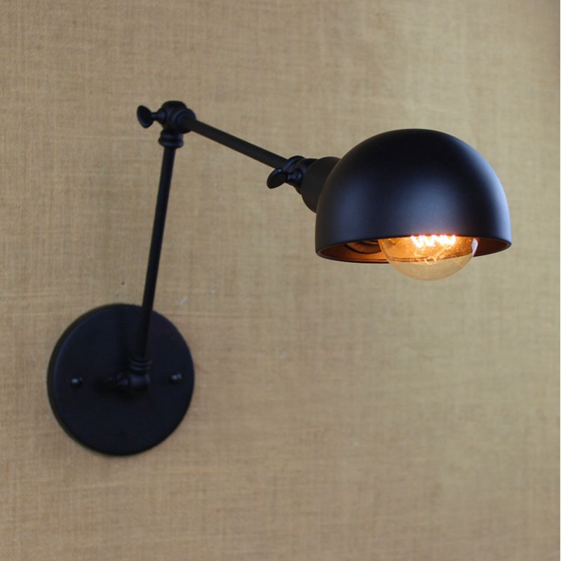 ФОТО E27 Vintage industrial style loft creative minimalist long arm wall lamp adjustable Handle Metal Rustic Light Sconce Fixtures