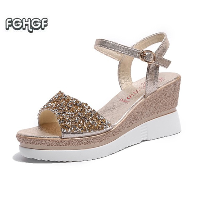 a5ff9268f475 Gold Rhinestone Sandals Summer 2018 Fetish High Heel Sandals Women Addeds Shoes  Woman Sandals Ladies Peep Toe Sandals Sandalia-in High Heels from Shoes on  ...