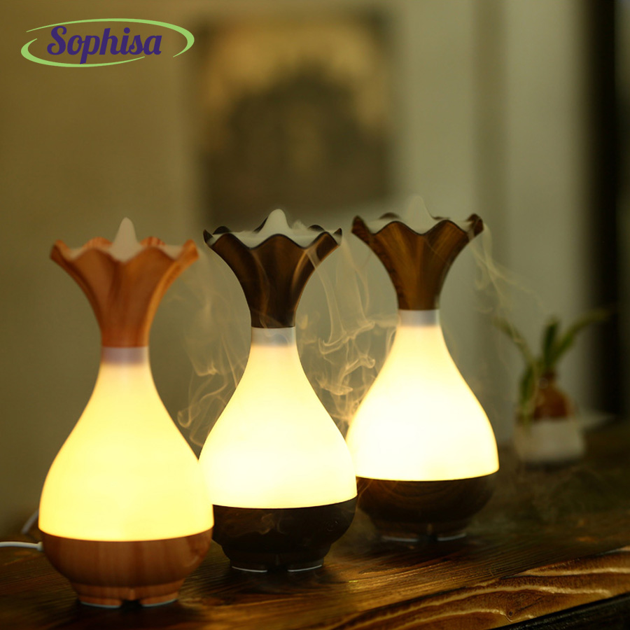 Sophisa 100ml flower bottle shape usb Ultrasonic Air humidifier Aroma Essential Oil Diffuser  LED Lights mist maker SPSMALL07