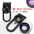 High quality cell phone universal Clip 160 fisheye lens + 0.65X  wide angel  + 10x macro lens 3 in 1  lens,10set/lot