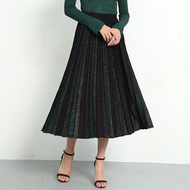 Elegant Pleated Skirt Women 2019 Spring Glitter Knitted Midi Skirts Women Bling A line Sweater Long Skirt Lady Retro Shiny Skirt