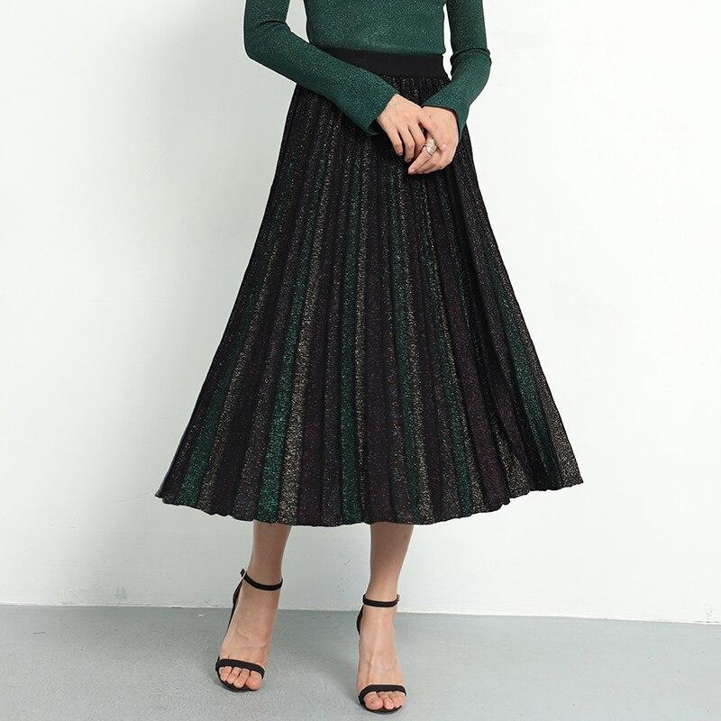 Jupe plissée élégante femmes 2019 printemps paillettes tricoté Midi jupes femmes Bling a-ligne pull longue jupe dame rétro jupe brillante