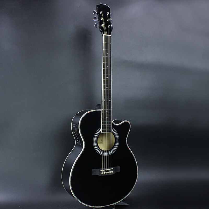 40 inch Electric Acoustic Guitar Rosewood Fingerboard Basswood wood guitarra Black guitar pickup tuner strings 40-47 two way regulating lever acoustic classical electric guitar neck truss rod adjustment core guitar parts
